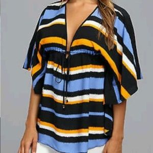 MICHAEL KORS Multi V-Neck Striped Blouse Top